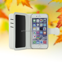 White PU leather cell phone case with wallet and card slots for iphone6