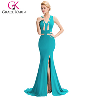 Grace Karin 2016 Dark Turquoise Deep V-Neck Backless High-Split Evening Dresses GK000047-1