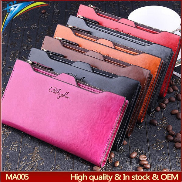 Fashion Stylish lady clutches and purses long high quality faux leather card holders