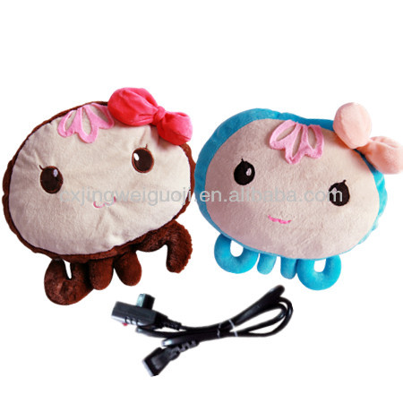 animal hot water bottle with super soft cover,custom electric hand warmer,rechargeable hot water bag