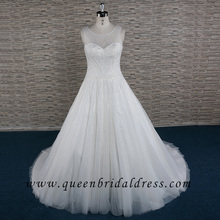Luxurious Illusion neckline wedding dresses Crystal beaded wedding gown Princes Tulle bridal dresses A-line bridal gowns