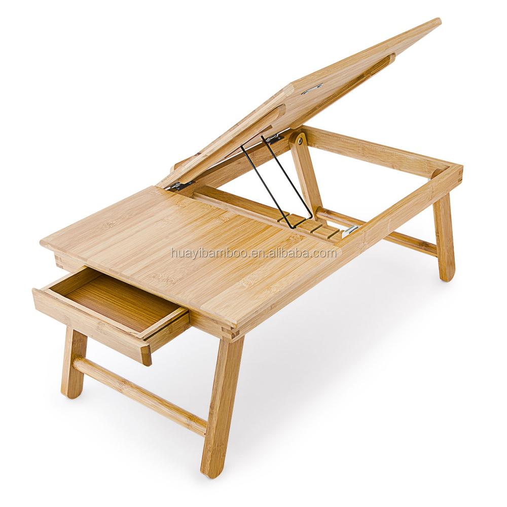 Bamboo Multi Position Adjustable Laptop Computer Desk& Serving Bed Tray With Drawer Buy