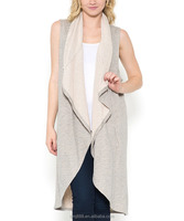china supplier lady draped shawl collar vest outer