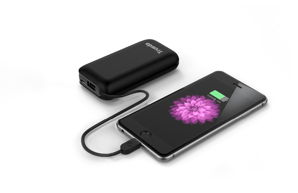 6700mAh Power Bank Portable USB Charger, Universal Compact External Battery Pack with MFi Certified Cable - Black