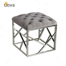 Hot sale stainless steel base square leather stools