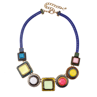 Fashion Women Statement Necklace Jewelry 2016 Za Design Alloy Colorful Geometric Square Gem Maix Choker Neckalce & Pendants