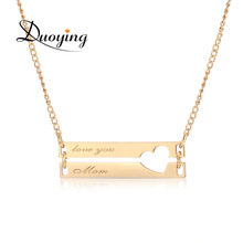 Double Bar Necklaces Hollow Love Personalized Engraved Custom Charm Necklace for Etsy Couples Sisters Mother Necklaces