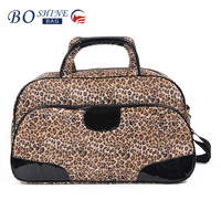 New Trendy Satin Lepoard Print Ladies Overnight Fashionable Travel Duffel Bag With Shoulder Strap