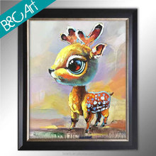 Home decor colorful lonely milu deer palette knife impressionism impasto art painting