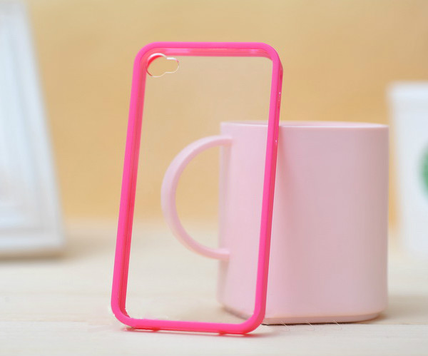 Hot Pink TPU Frames PC Back Hard Coating Bumper Protective Skin Case Cover For iPhone 4 4s