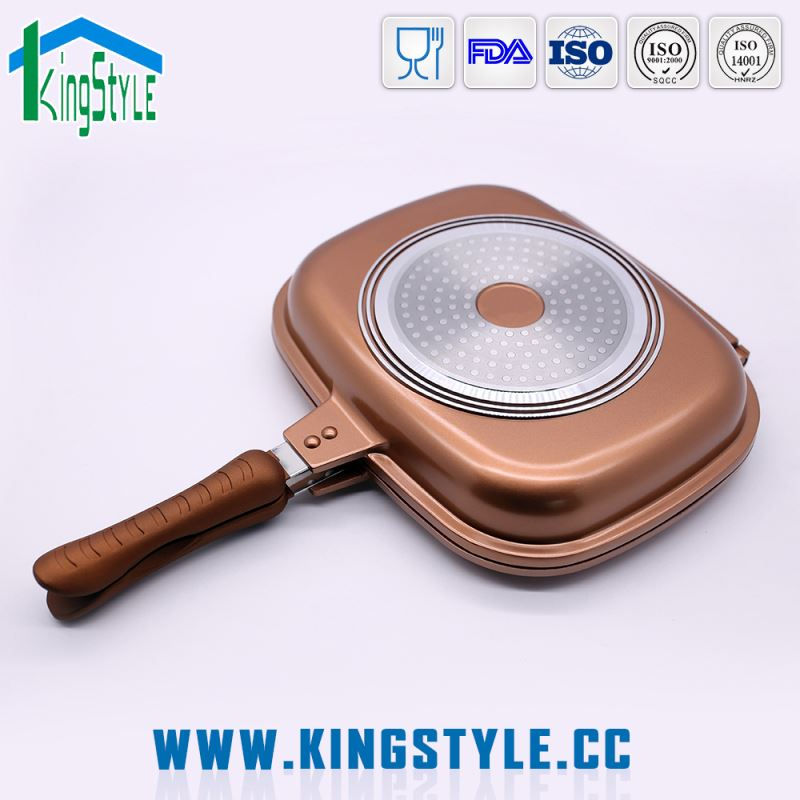 2017 new designed ceramic induction stone coating double sided fry pan, twin frying pan with tempered glass lid