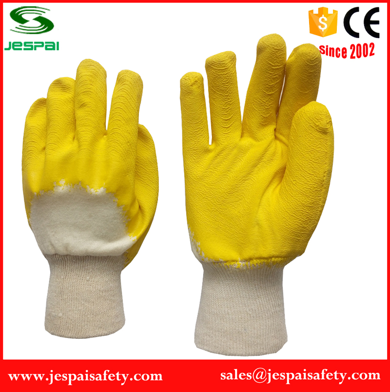 cotton liner with 3/4 yellow latex shell light duty gloves