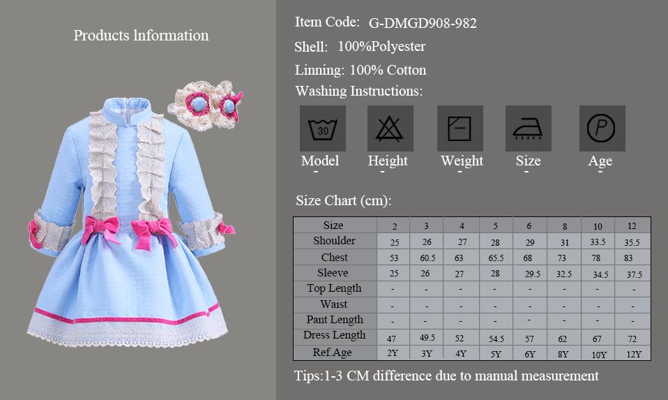 Mareya Trade Pettigirl 2018 New Autumn Blue Girl Dress Full With