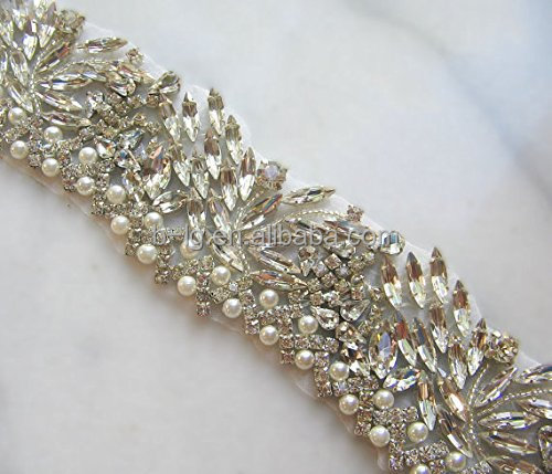 Wholesale rhinestone beaded crystal trims for bridal headbands