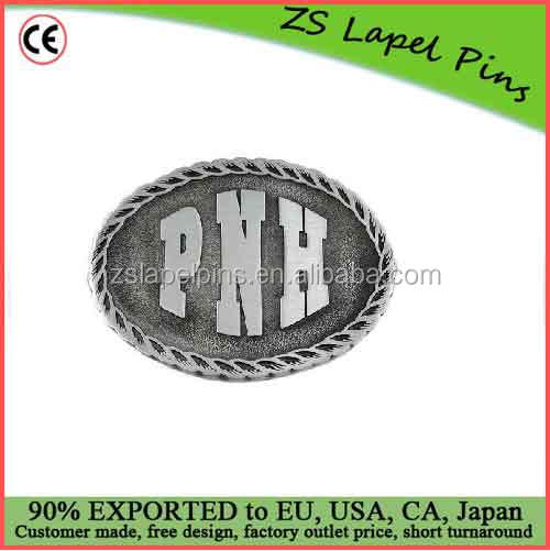 Custom design and logo Pewter belt buckle