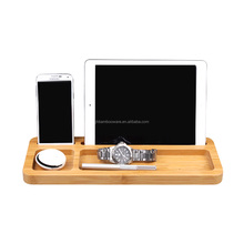 portable bamboo wood desktop organizer, office desk accessories wholesale
