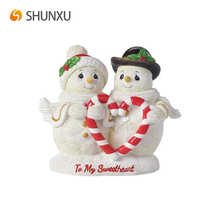 Lovely White Resin Christmas Souvenir Gift Couple Snowman Engraved with to my sweetheart Holding Heart-Shape Candy Bars