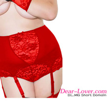 Wholesale Red Plus Size Lace Chinese Style lingerie women garter belt XXL