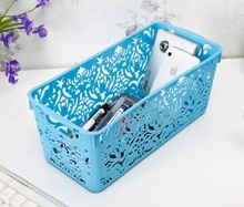 Colourful and thickened rectangle hollowed plastic storage baskets