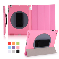 Factory Outlet 360 Rotating Ultra Slim Smart Magnetic Case Handheld Flip Cover for iPad 2/3/4