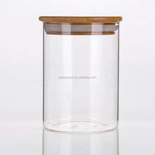 airtight high clear glass spice/candy/food jar with bamboo lid