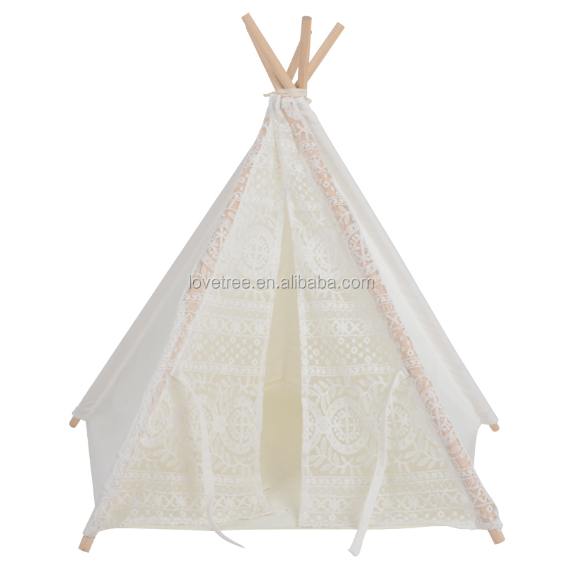 LoveTree Soft Pet House Outdoor Wooden Teepee Washable Durable Foldable Small Dog and Cat Tent Dog Bed