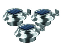 Solar Powered 3 LED Gutter Light Fence Roof Gutter Garden Yard Wall Lamp
