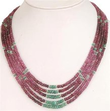 Loose Ruby Emerald Gemstone Beads Handcrafted Necklace