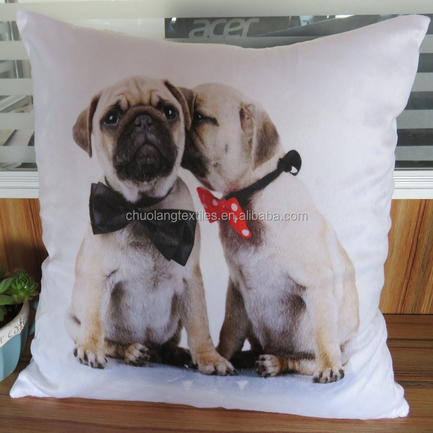 3D digital printed dog cushion cover super soft short plush cushion decorative pillow