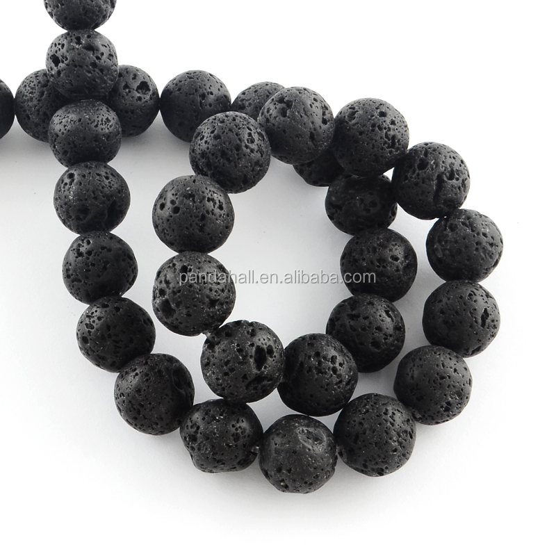 4-5mm Round Gemstones <strong>Black</strong> Natural Lava Ball Beads Strings