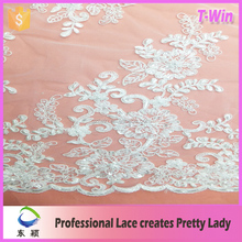 2016 cord spangle embroidery lace fabric re embroidered lace red beaded lace fabric
