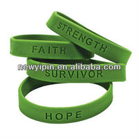 Green Cancer Awareness Support Silicone Bracelets