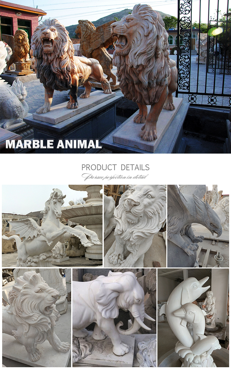 Modern outdoor garden decoration stone animal sculpture white marble hand-carved  life size horse statues