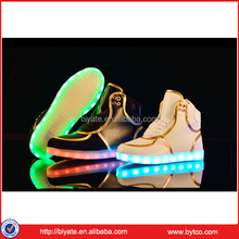 High heel kids led light up shoes latest PU leather fashion dance shoes for children