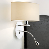 Led wall mount headboard reading lamp with fabric shade for hotel