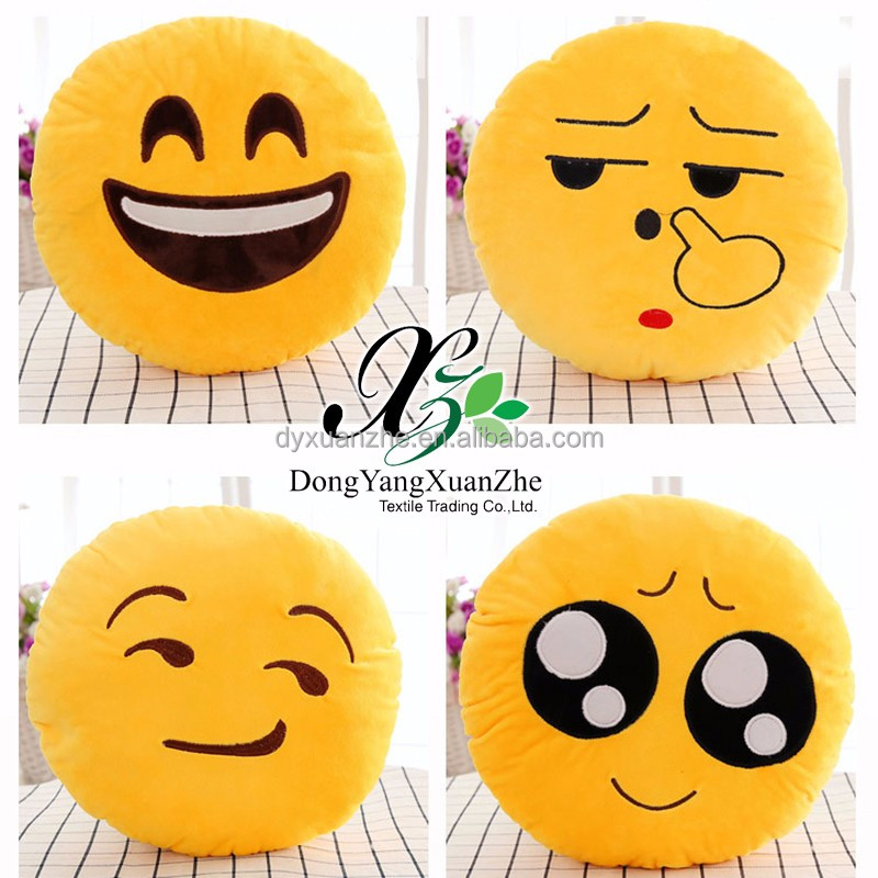 XZ-B01 Dongyang XuanZhe 100% Polyester Best Quality Smiley Pillow Big Pillow Chair Plush Emoji Pillow Stuffed Toys