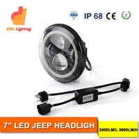 "Top selling high quality 7"" round led sealed beam 45w headlights for jeep led headlight with h4 plug ,h13 adaptor for Wrangler"