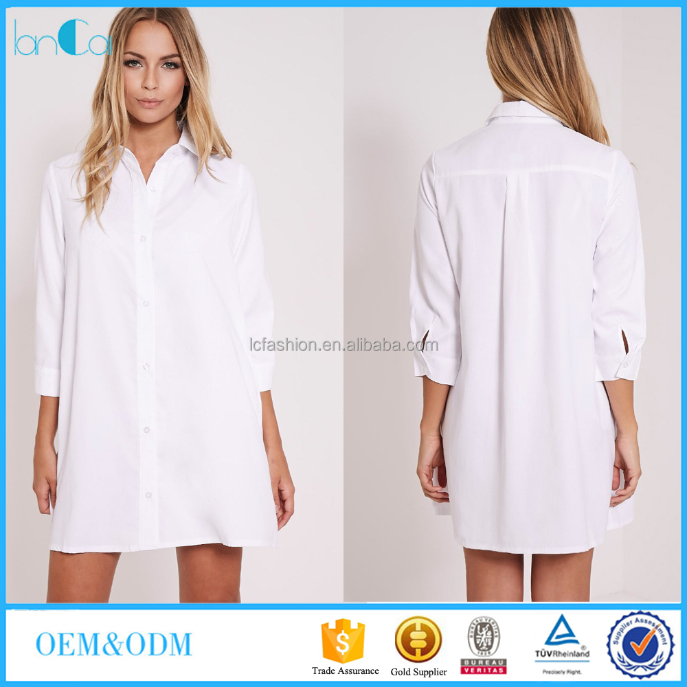 2016 summer v neck white shirt dress for beach wear Buy white dress shirt
