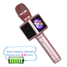 Magic wireless karaoke microphone ,portable handheld mic with colorful LED light for singing and recording