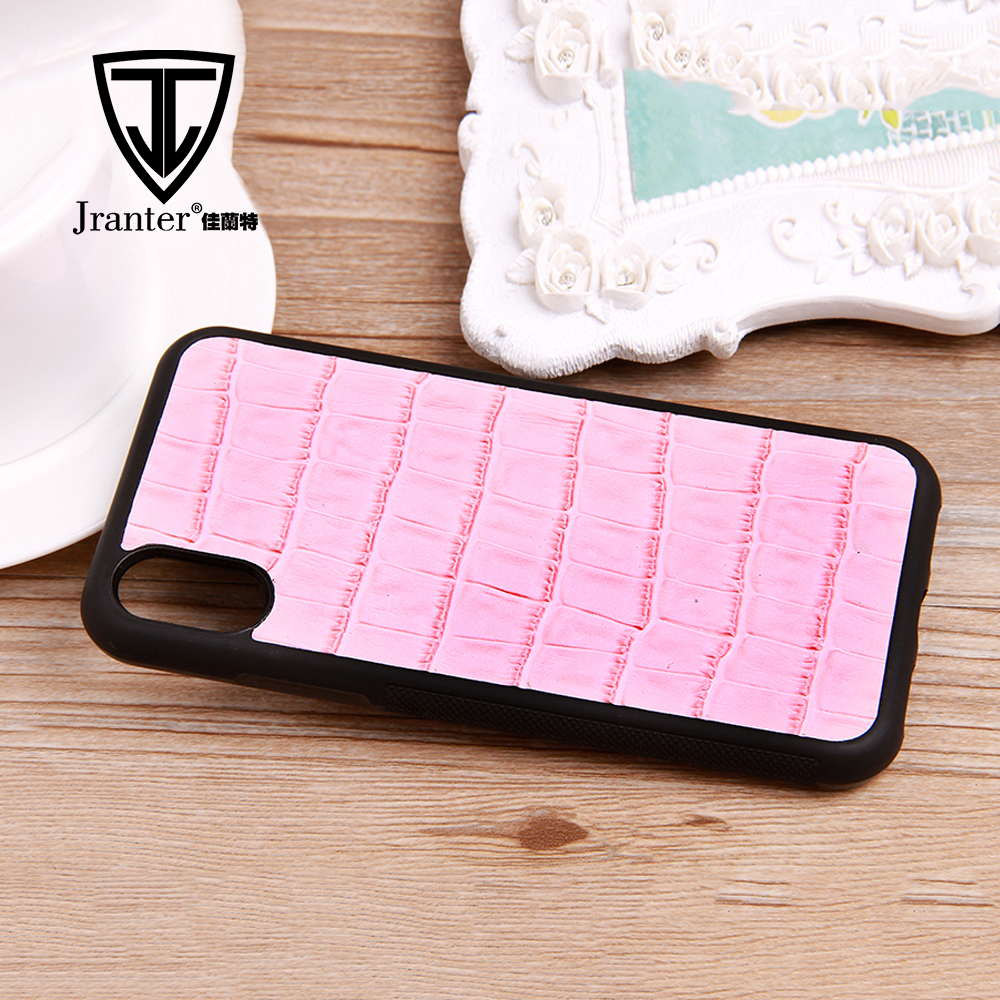 For Iphone X Real Leather Cell Phone Case ,Embossed Crocodile Leather Mobile Phone Shell For Iphone Case