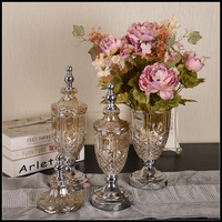 Chinese Best Price Modern Tall Clear Decoration Glass Flower Vase With Silver Bronze Metal Stand Designer Home Decor Stock