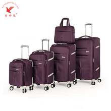 KZN factory provide 5 pcs nylon collapsible Luggage travel bags with trolley sleeve