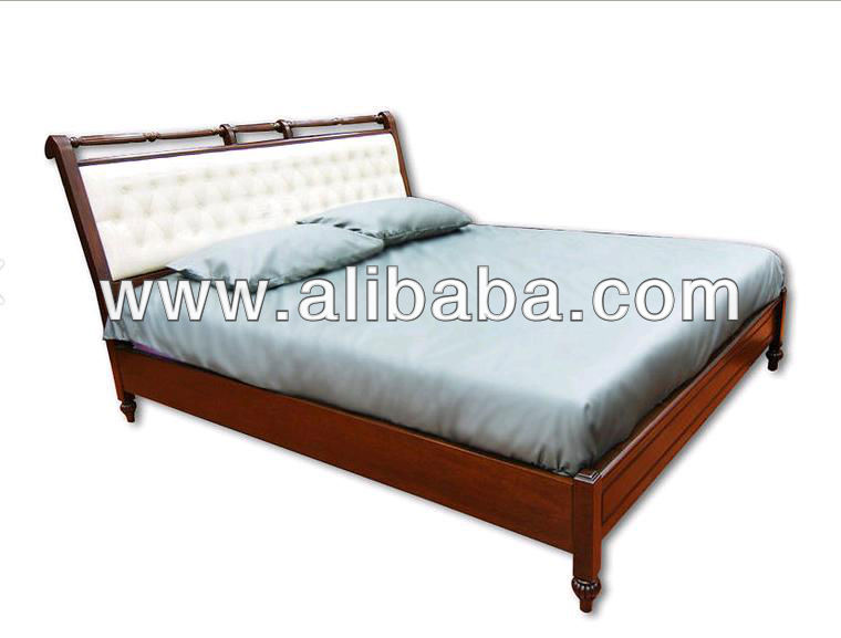 Teak Wood Bed ( Synthetic leather Style ) , Made in Thailand