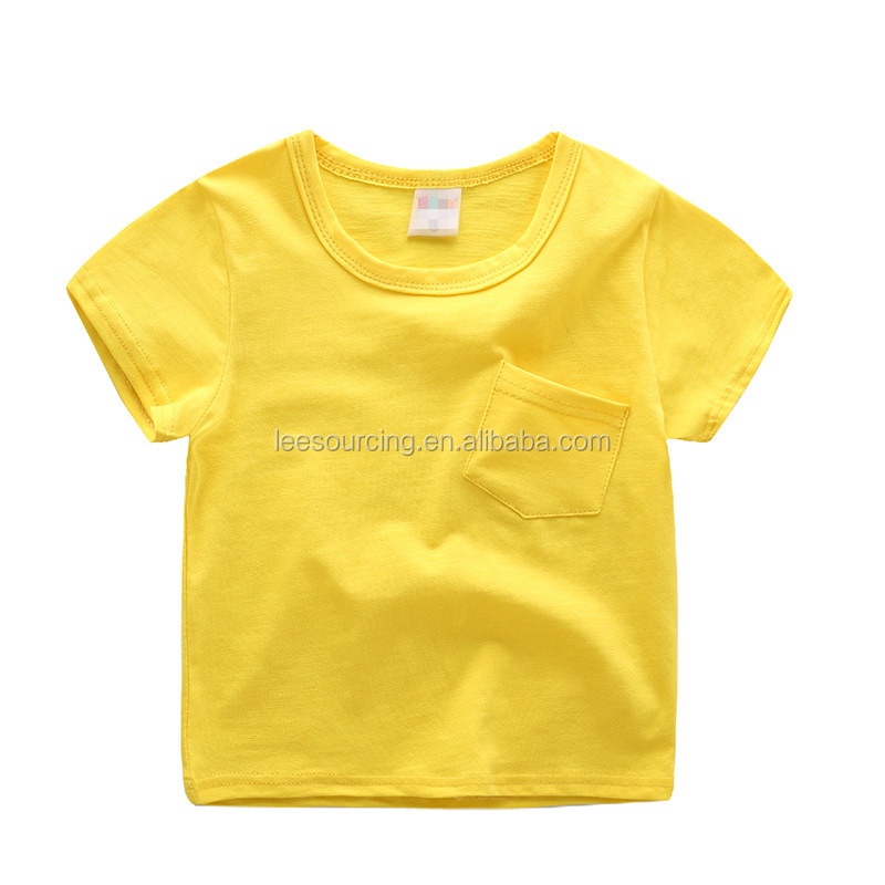 Wholesale summer pocket yellow organic blank kids boy t-shirts