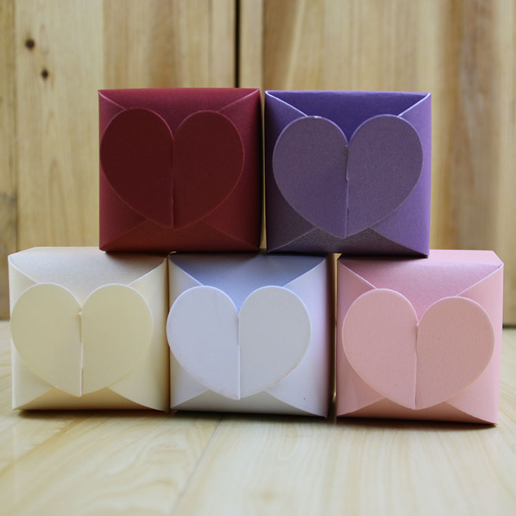 5 colors Pearl paper heart shape small baby sweet gift packaging box