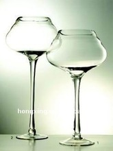 Large Glass Hurricane Candle Holder with Stem