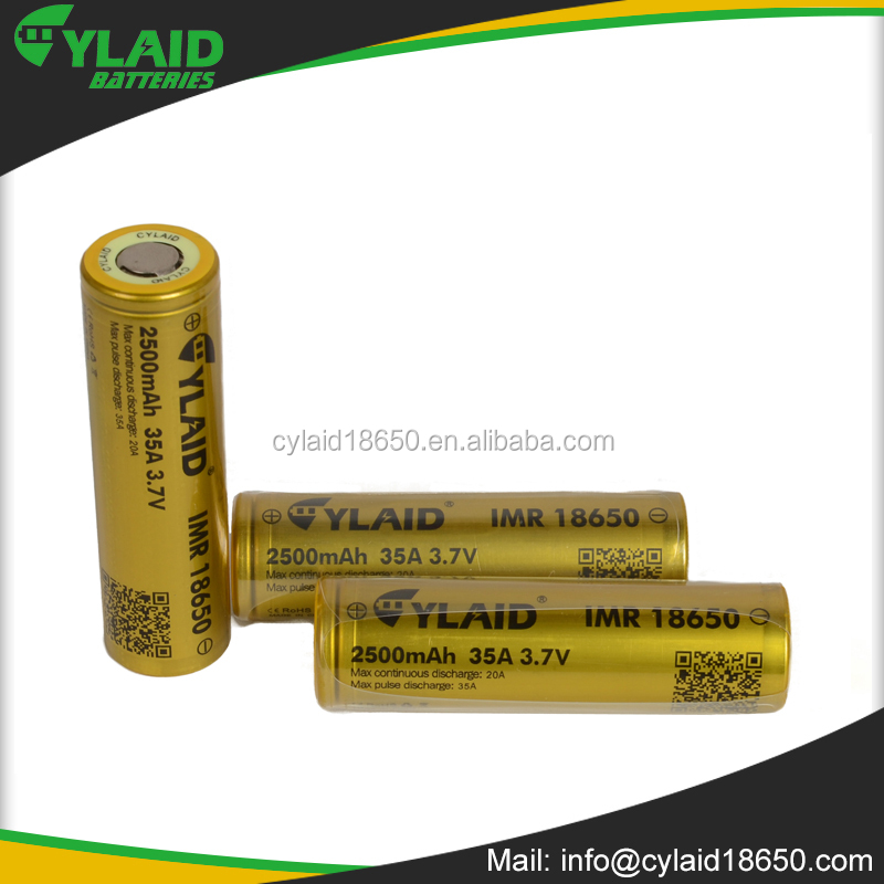Hot sale cylaid 18650 3.7V 2500Mah lithium polymer recharge battery with deep cycle cylaid 2500mAh 35A 18650 3.7V battery