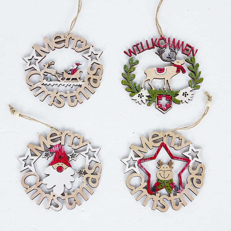 High quality Wooden Christmas hollowed-out small pendant /Wooden Christmas <strong>decorations</strong>