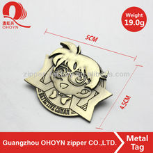 Well-looking Customized metal tag cover with head portrait bag parts metal logo