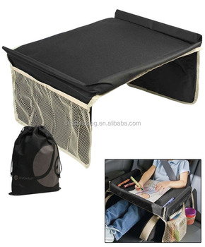 Black Foldable Polyester Lap Table Car Backseat travel tray for Children